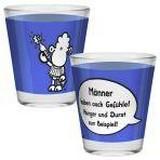 Schnapsglas Männer - Blau/Weiß, KONVENTIONELL, Glas (4,8/6cm)