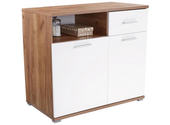 Komoda Roma2, 1 Lade, 2 Tüen - farby dubu/biela, Moderný, kompozitné drevo (100/80/45cm)
