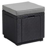Gartenhocker Cube Polyrattan mit Kissen - Graphitfarben, MODERN, Kunststoff (42/39/42cm) - Allibert