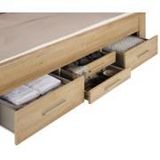 Posteľ Kufstein 160x200cm - farby dubu/prírodné farby, Konvenčný, kompozitné drevo/textil (208/165/104cm) - Modern Living