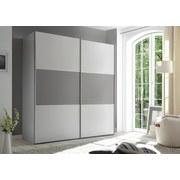 Schwebetürenschrank mit Schubladen 225cm Includo - Weiß/Grau, MODERN, Holzwerkstoff (225/222/68cm)