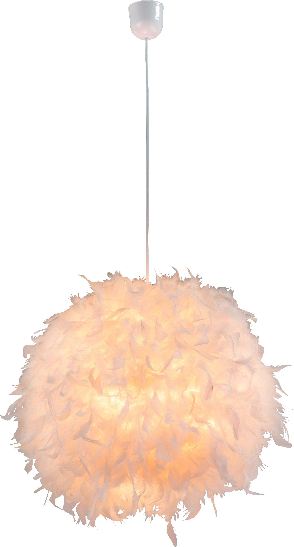 Hängeleuchte mit Federn - KONVENTIONELL, Kunststoff/Weitere Naturmaterialien (45/120cm)