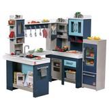 Kinderküche Begehbar - Blau/Weiß, Basics, Holz/Kunststoff (127/118,7/84cm)