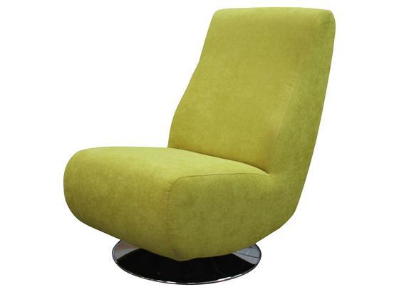 Křeslo Stanley - barvy stříbra/žlutá, Moderní, kov/textil (60/100/94cm)