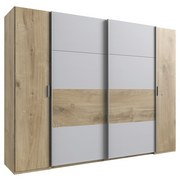 Drehtürenschrank 272cm Oslo, Eiche/Hellgrau - Eichefarben/Hellgrau, Basics, Holzwerkstoff (272/210/65cm) - MID.YOU