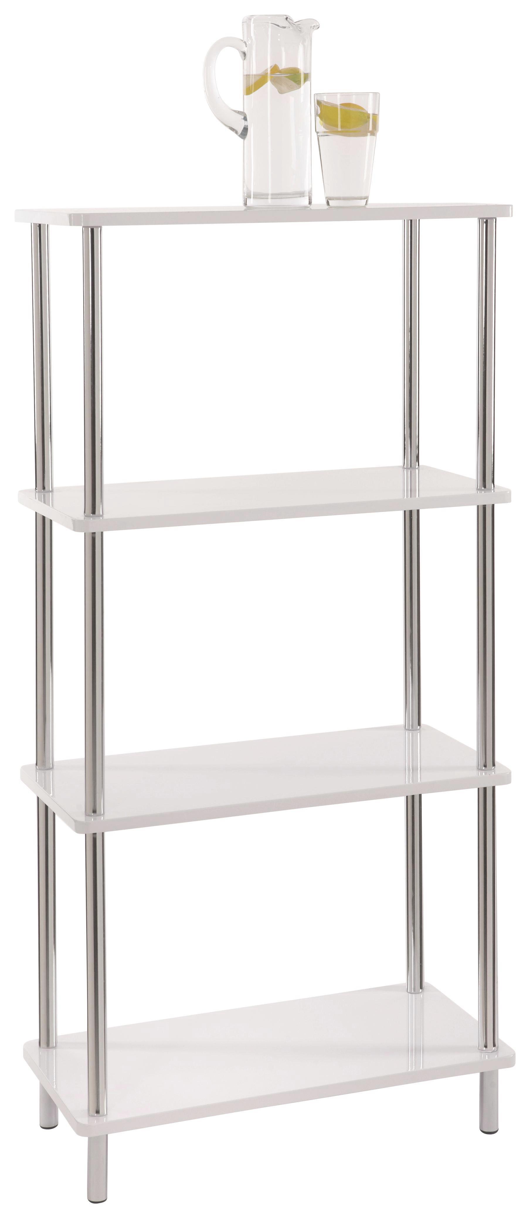 Regál Tim 2 - bílá/barvy chromu, Moderní, kov/dřevěný materiál (60/120/30cm)