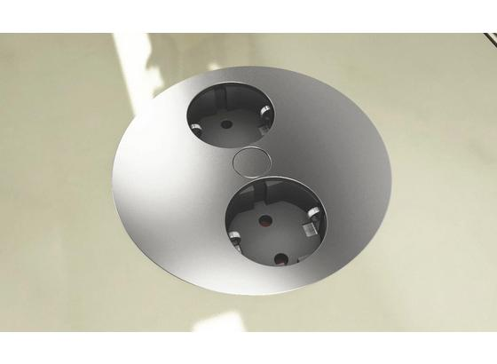 Steckdosenelement Twist - Edelstahlfarben, Kunststoff/Metall (10,5/4cm)