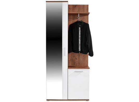Šatna Xara - bílá/barvy dubu, Moderní, kompozitní dřevo/sklo (80/189/30,5cm)