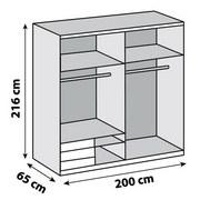 Schwebetürenschrank Level 36a 200cm Eiche Dekor - Eichefarben, MODERN, Holzwerkstoff (200/216/65cm)