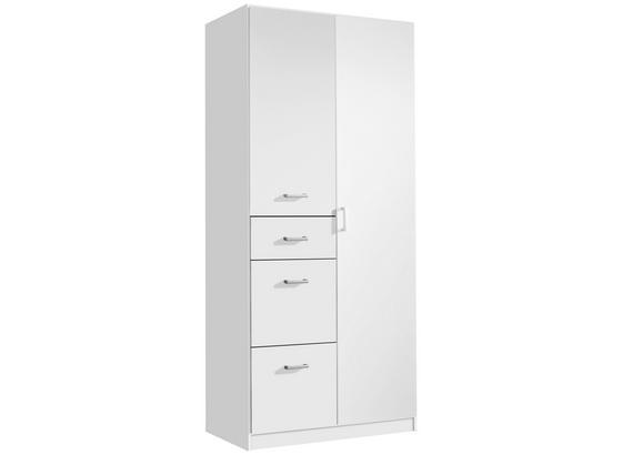 Skříň Point Bílá - bílá, Moderní, kompozitní dřevo (91/197/54cm)
