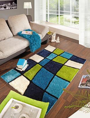 Hochfloorteppich in Blau und Grün