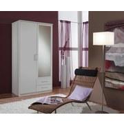 Drehtürenschrank mit Spiegel 90cm Osaka, Weiß Dekor - Weiß, KONVENTIONELL, Glas/Holzwerkstoff (90/199/58cm) - MID.YOU
