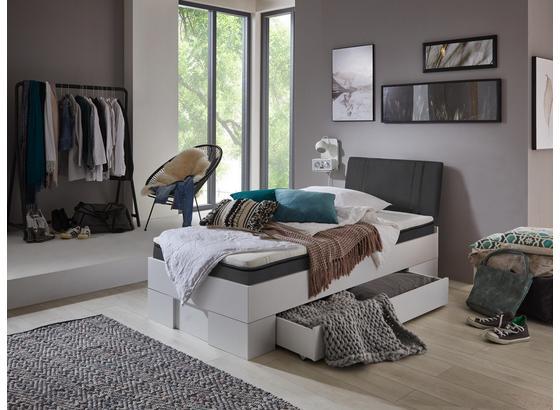 Futonbett mit Bettlade 90x200cm Sandro, Weiß/Grau - Anthrazit/Weiß, MODERN, Holzwerkstoff (90/200cm)