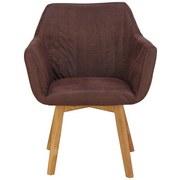 Armlehnstuhl Vera Webstoff Vintage Braun, Gepolstert - Eichefarben/Braun, KONVENTIONELL, Holz/Textil (62/84/60cm)