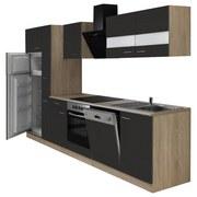 Küchenblock Economy 310 cm Eiche/Grau - Eichefarben/Grau, KONVENTIONELL, Holzwerkstoff (310/200/60cm) - MID.YOU