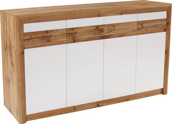 Komoda Kashmir New Kak07 - bílá/barvy dubu, Moderní, dřevěný materiál (185/89/41cm) - James Wood