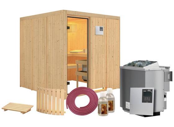 Bio-Sauna Cannes mit externer Steuerung (kombi-Sauna) - Naturfarben, MODERN, Holz (196/198/196cm) - Karibu