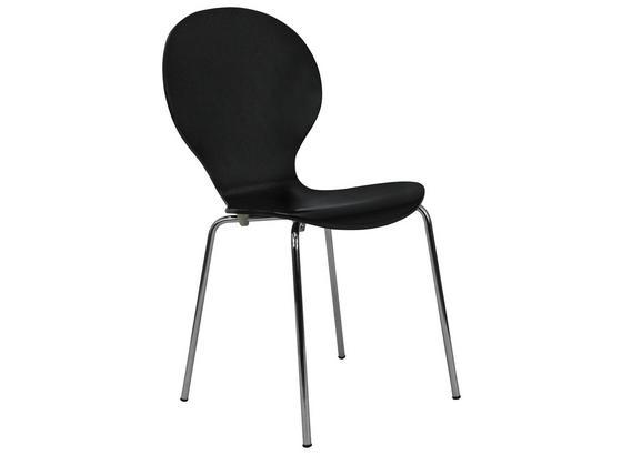 Stolička Ria - čierna/chrómová, Konvenčný, kov/drevo (45/86/50cm)