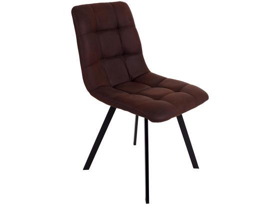 Stolička So 4 Nohami Zürs - hnedá/čierna, Konvenčný, kov/drevo (45/89/58cm)