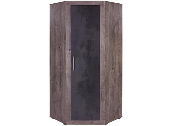 Rohová Skříň Frame - tmavě šedá/barvy lanýžového dubu, Konvenční, kompozitní dřevo (81/200/81cm)