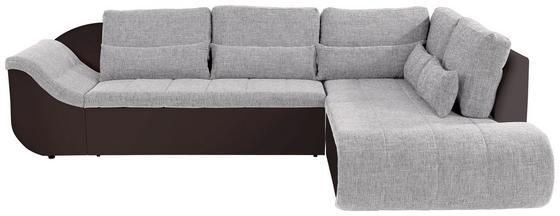 Wohnlandschaft in L-Form Carisma 300x210 cm - Hellgrau/Schwarz, MODERN, Textil (300 210 cm) - Ombra