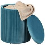 Hocker Salim Blau B: 35 cm - Petrol, Basics, Holzwerkstoff/Textil (35/44/35cm)