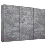Schwebetürenschrank Belluno 271 cm Stone Dekor - Grau, MODERN, Holzwerkstoff (271/230/62cm)