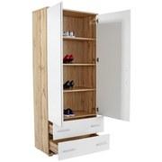 Schuhschrank Es 20 - 2 - Eichefarben/Weiß, MODERN, Holzwerkstoff (90/192/36cm)