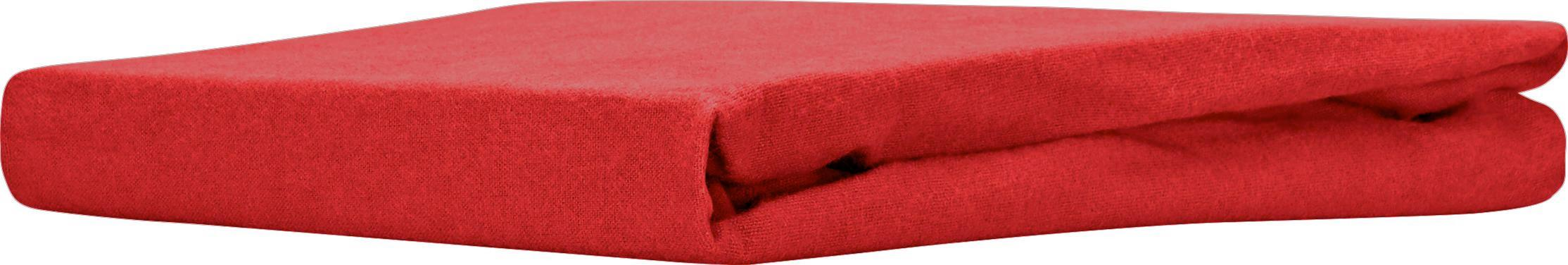 Spannleintuch aus Baumwoll-Flanell in Rot