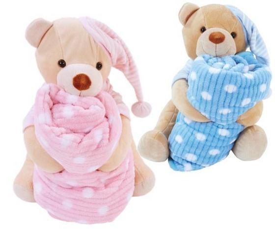 Puha Takaró Teddy Mackóval Bella - Világoskék/Fáradt rózsaszín, konvencionális, Textil - Ombra