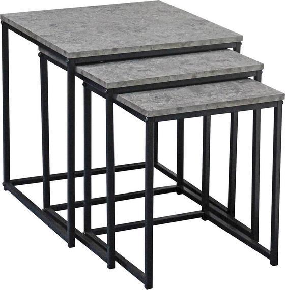 Kisasztal Szett Rock - fekete/szürke, modern, fém/papír (40/35/30/42/39/36/40/35/30cm) - LUCA BESSONI