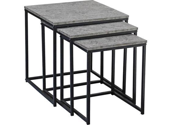 Sada Stolíkov Rock - čierna/sivá, Moderný, kov/kompozitné drevo (40/35/30/42/39/36/40/35/30cm) - Luca Bessoni