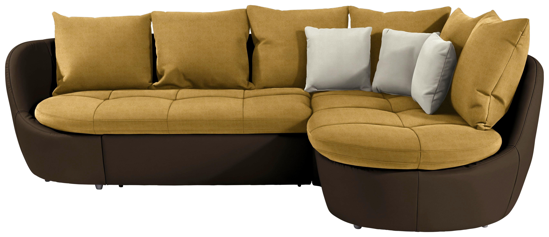 Wohnlandschaft in L-Form Florida 280x192 cm - Gelb/Silberfarben, MODERN, Textil (280/192cm) - Luca Bessoni