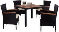 Gartenmöbel Set 5-Tlg. Moa Aus Kunststoff U. Holz mit Kissen - Beige/Creme, MODERN, Holz/Kunststoff - Ombra