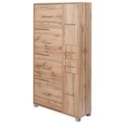 Schuhschrank Pisa - Silberfarben/Braun, Basics, Holzwerkstoff (88,4/163,7/30cm) - MID.YOU