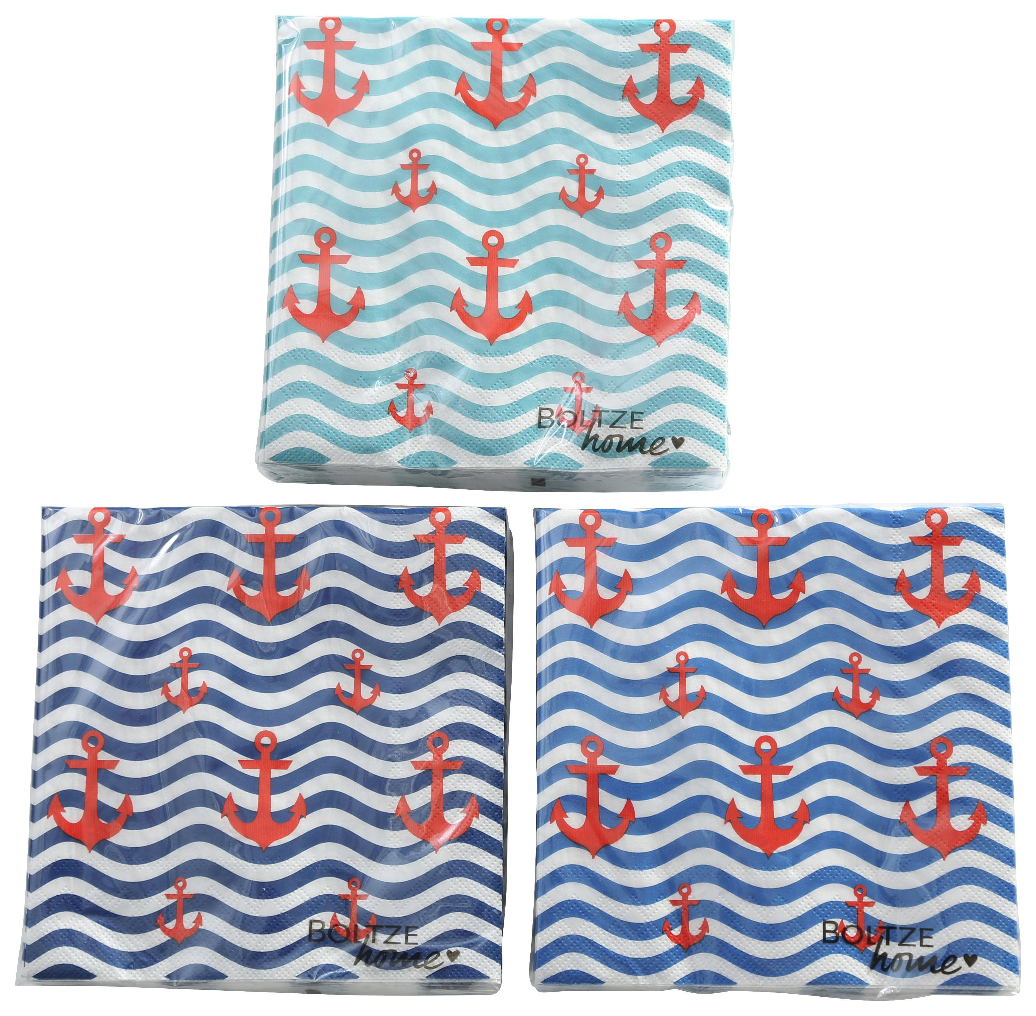 60 x Paper Design Servietten Papierservietten blau Weiß Anker Maritime Meer