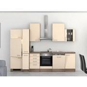 Küchenblock Eico 310 cm Magnolie - Edelstahlfarben/Eichefarben, MODERN, Holzwerkstoff (310cm) - MID.YOU
