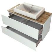 Badmöbel-Set 2-Tlg. inkl. Led Pienza B: 100 cm, Weiß - Eichefarben/Weiß, Basics, Keramik/Holzwerkstoff (100cm) - MID.YOU
