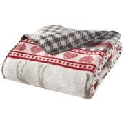 Wohndecke Jaquard - Rot/Weiß, MODERN, Textil (150/200cm)