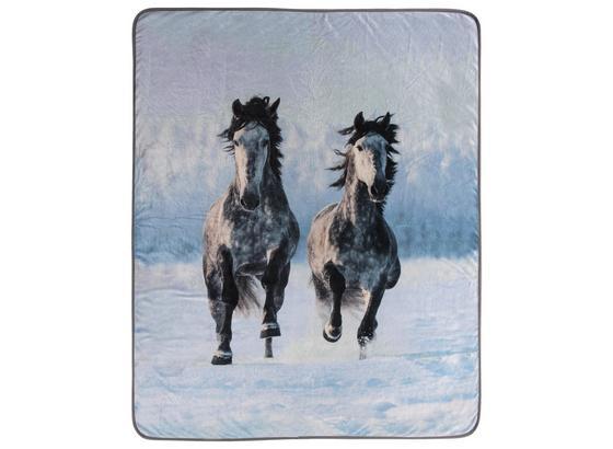 Kuscheldecke Pferde Im Schnee - Grau, Textil (130/160cm)