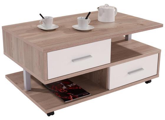 Couchtisch Holz mit Stauraum Quattro, Silbereiche Dekor - Eichefarben/Weiß, MODERN, Holzwerkstoff (105/45/60cm)