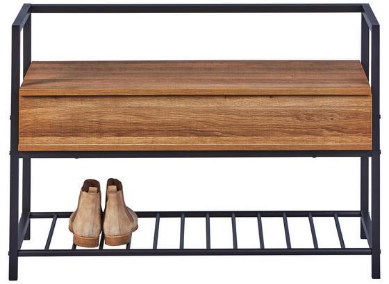 Regál Na Topánky Ana - farby dubu/antracitová, Moderný, kov/drevo (90/61/39cm)