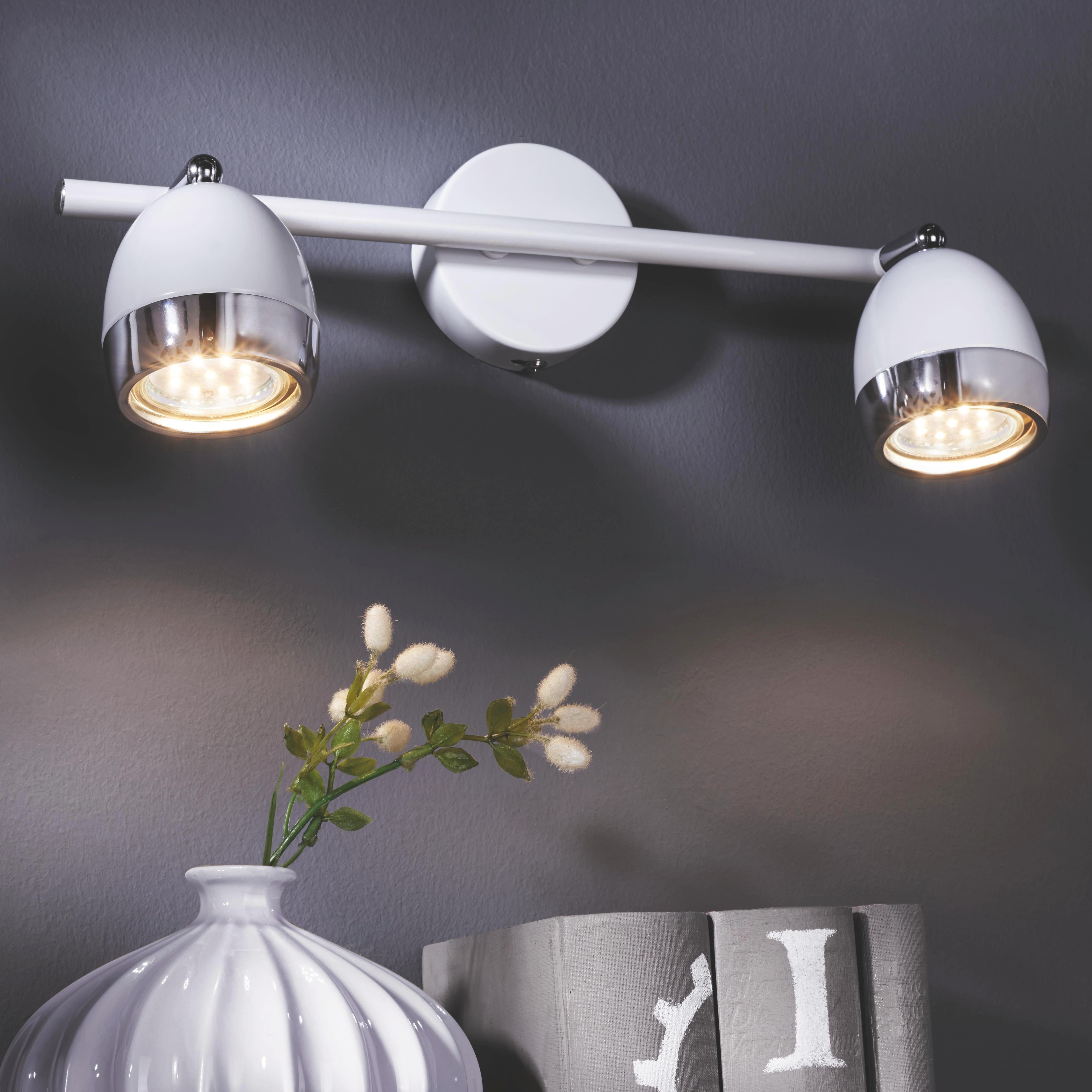 Bodove Svetlo Nantes - biela/farby chrómu, Štýlový, umelá hmota/kov (25/15,5cm) - MÖMAX modern living