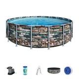Schwimmbecken Power Steel Pool - Blau/Weiß, MODERN, Kunststoff/Metall (549/132cm) - Bestway