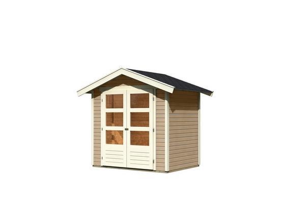 Gartenhaus Sandbeige 203x230x155cm - Sandfarben, MODERN, Holz (203/230/155cm) - Karibu