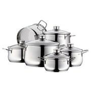 WMF Kochtopfset Diadem Plus 6-Teilig - Silberfarben, MODERN, Glas/Metall - WMF