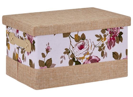 Aufbewahrungsbox Roses - Beige, Karton/Textil (31/20/18cm)