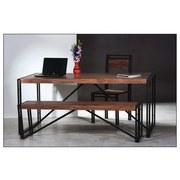 Schreibtisch 09218-01-Z B:180cm Naurfarben - Schwarz/Naturfarben, Basics, Holz/Metall (180/76/90cm)