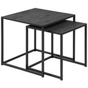 Beistelltisch 2er-Set Seaford Esche Dekor + Metall Schwarz - Schwarz, Trend, Holzwerkstoff/Metall (50/50/50cm) - Carryhome