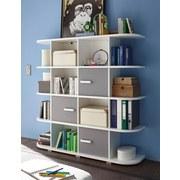 Regal mit Schrankteilen Yoris B 141,6cm, Weiß/Grau - Weiß/Grau, Design, Holzwerkstoff (141,6/141/38cm) - Livetastic